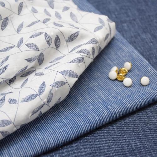 Sélection de tissus bleu et blanc - Cousette