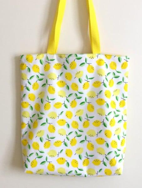 tote bag reversible imprime citrons - atelier de la creation