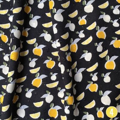 Viscose plumetis citron noir - Henry et Henriette