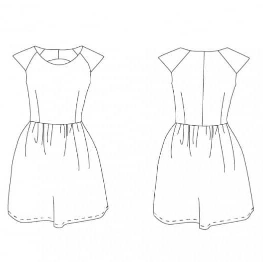 Dessin technique robe Aurore - patron de Coralie Bijasson