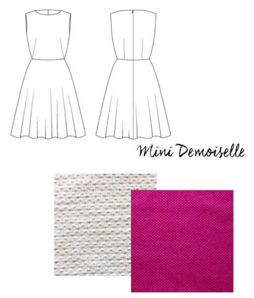 Patron mini-demoiselle et tissu rose pour robes demoiselle d'honneur