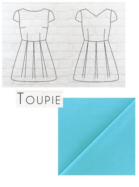 patron robe Toupie Eglantine & Zoé avec tissu piqué de coton bleu turquoise