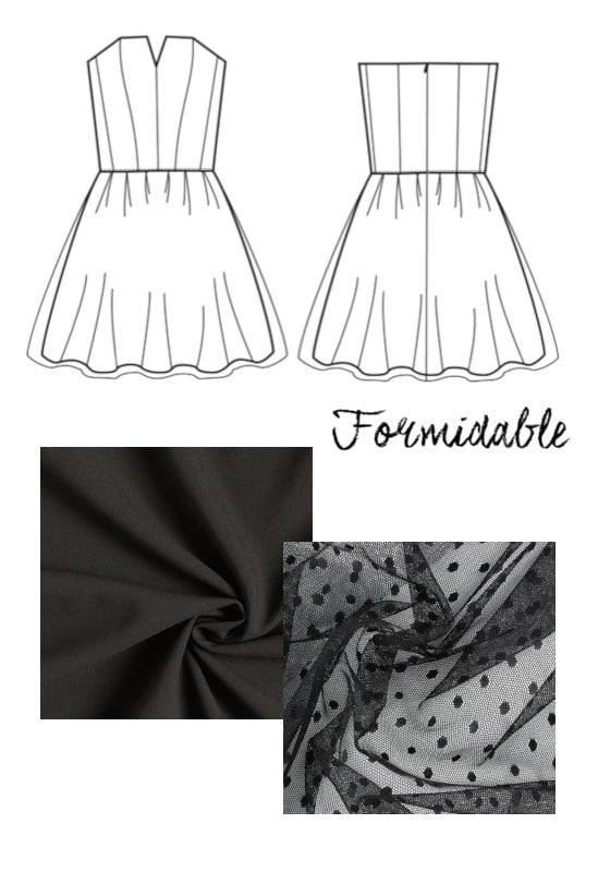 Robe bustier Formidable et plumetis noir pour un mariage