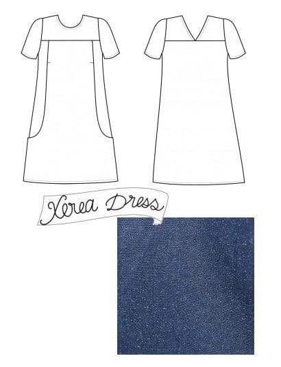 Patron Xerea de Pauline Alice Patterns et tissu lin-coton bleu pailleté