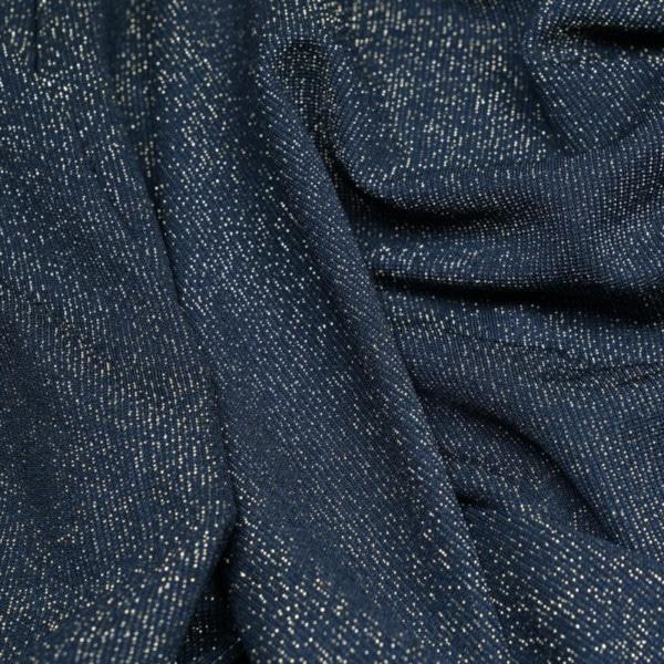 Tissu maillot de bain bleu marine pailleté fil lurex or