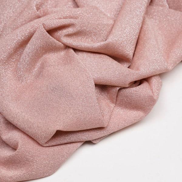 Tissu maillot de bain rose poudre pailleté fil lurex argent