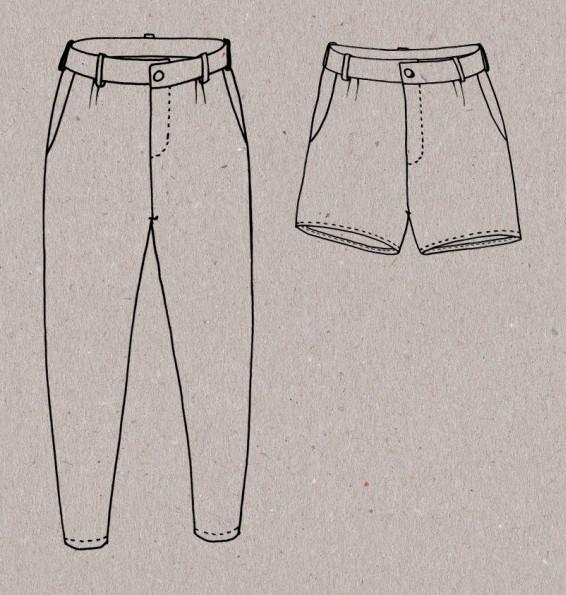 Dessin technique du pantalon Aime comme Mince Alors - patron Aime comme Marie