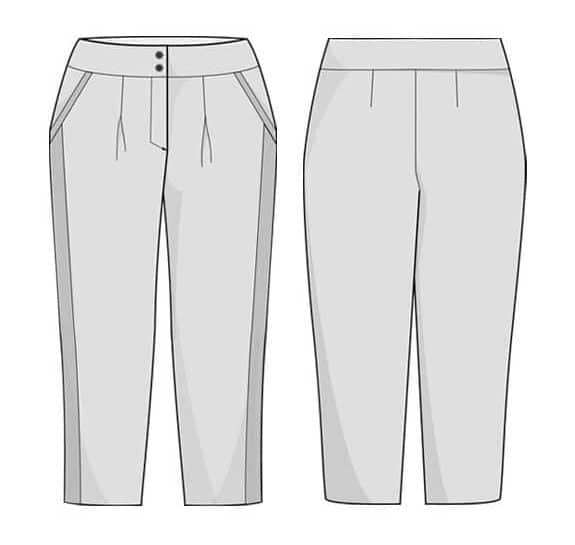 Dessin technique du pantalon Bruges - patron Orageuse