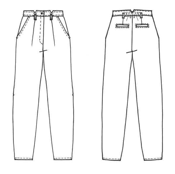 Dessin technique du pantalon à plis Gambette - patron Cousette