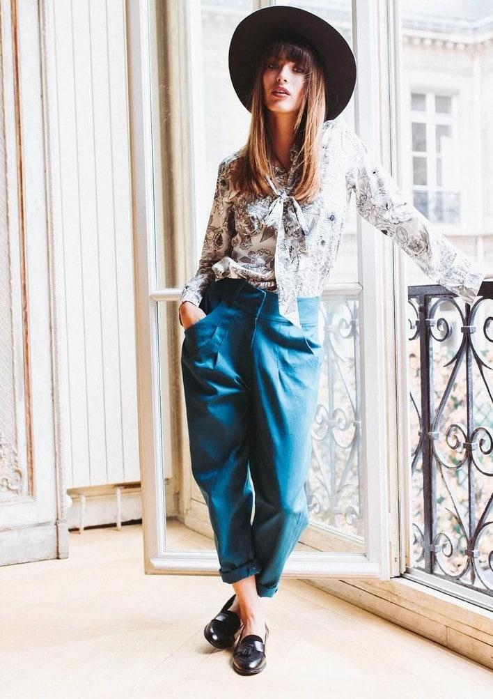 pantalon carotte Julietta bleu - pat