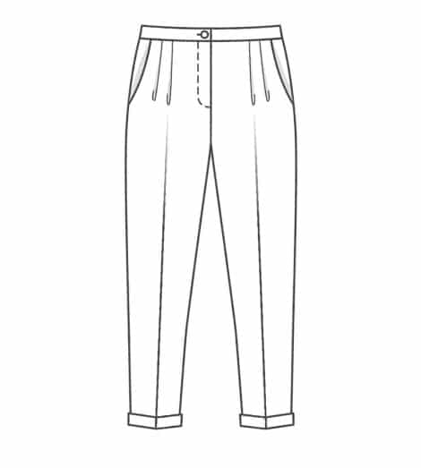 Dessin technique pantalon à pinces 6472 - patron Burda