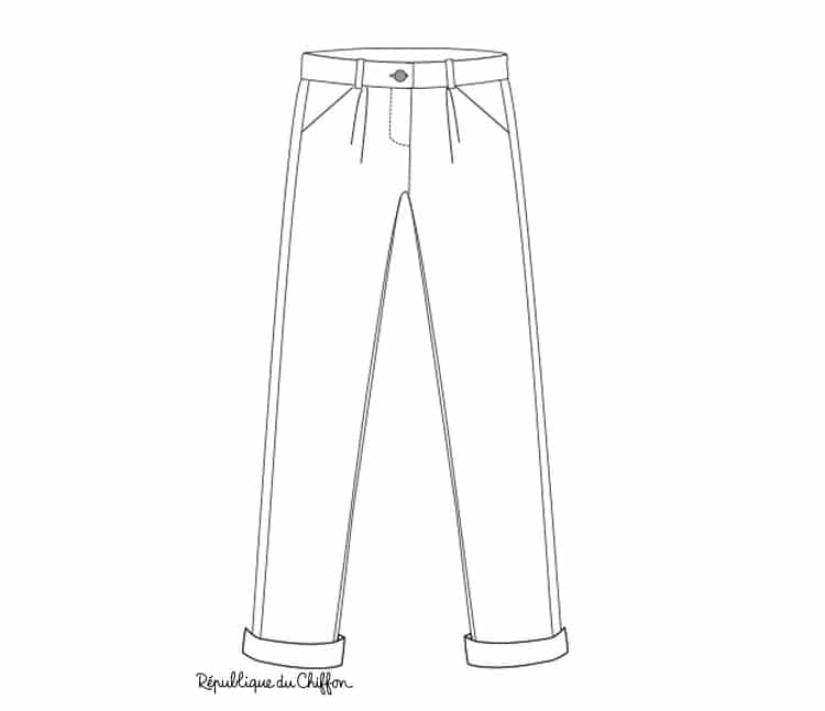 dessin technique du pantalon gilbert - patron république du chiffon