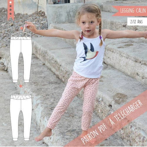 patron legging enfant gratuit - Calin de Super Bison