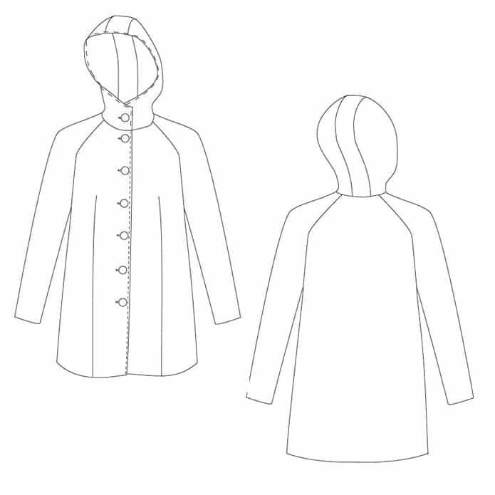 Dessin technique manteau Nora - patron Coralie Bijasson