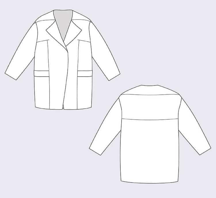 Dessin technique manteau Gaia - Named clothing