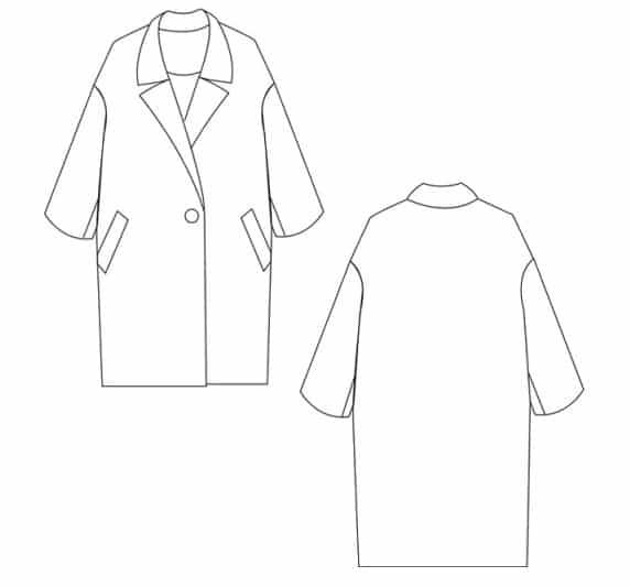 Dessin technique patron manteau Yokohama