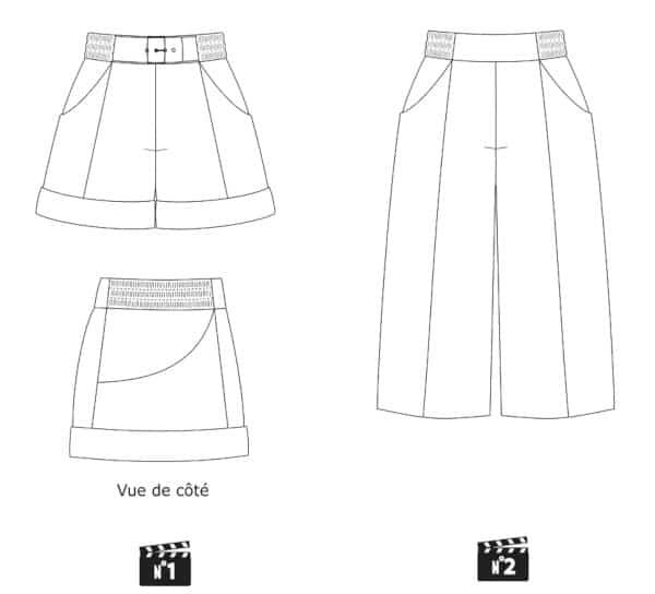 Dessin technique short et jupe-culotte M.GYVER de Fiat Lux Patrons x Couture and Clo