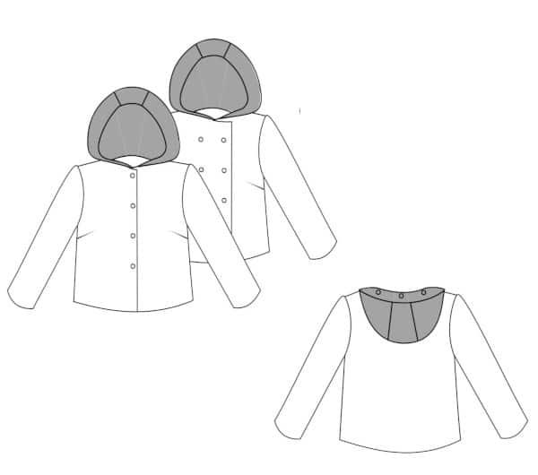 Dessin technique de la veste Magnesium avec capuche - patron IVANNE S