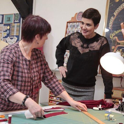Michèle Thénot et Cristina Cordula dans l'émission Cousu Main