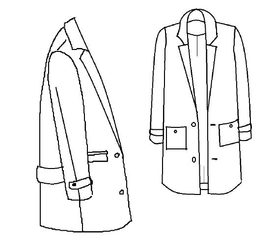 Dessin technique du patron de manteau Ray