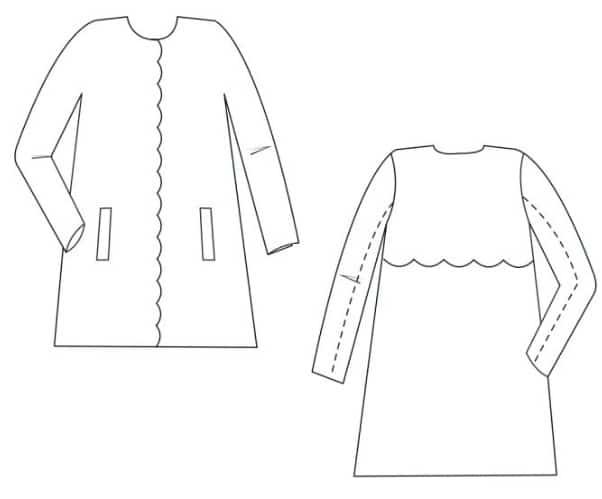 Dessin technique du patron Jackie - manteau Apolline patterns