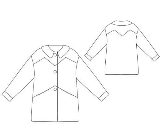 Dessin technique patron manteau John - République du Chiffon