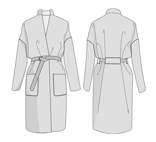 Dessin technique patron manteau Riga - Orageuse Patterns