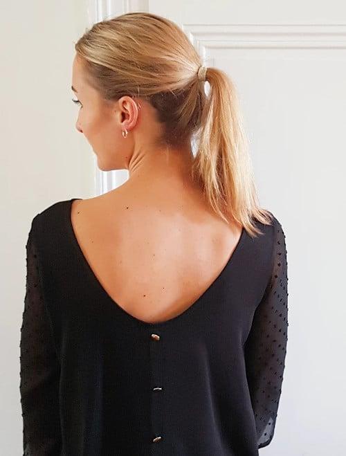 Kit couture blouse Poppy plumetis noir - Joli Lab