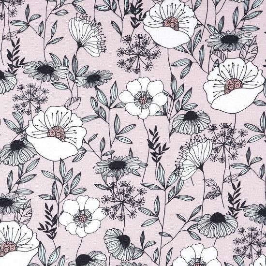 Bachette coton rose à fleurs - Mondial Tissus