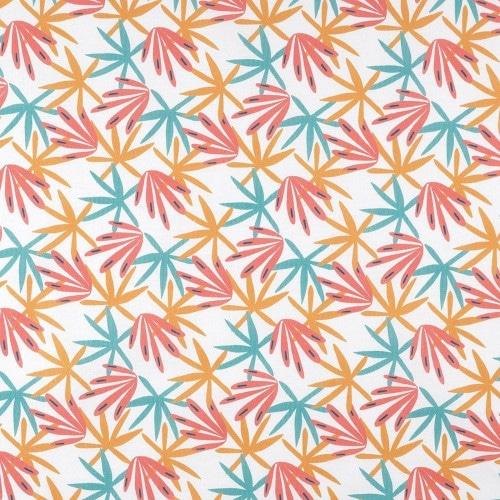 Coton à motifs algues multicolores - Mondial Tissus