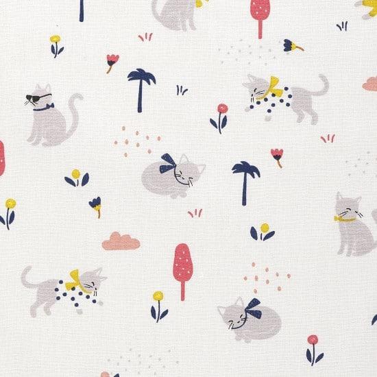 Tissu coton imprimé chats et palmiers - Mondial Tissus