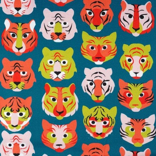 Tissu coton épais tigre bleu - Mondial Tissus