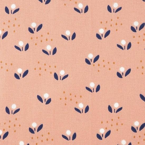 Tissu coton à fleurs sur fond rose - Mondial Tissus