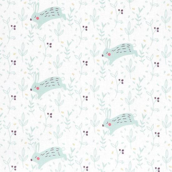 Coton imprimé lapins blanc - Mondial Tissus