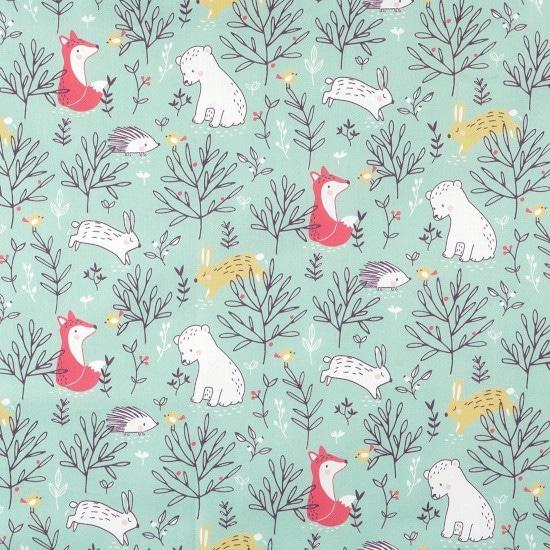 Coton vert imprimé animaux - Mondial Tissus