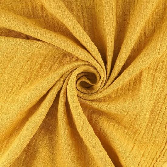 Tissu à draps double-gaze jaune moutarde - Mondial Tissus