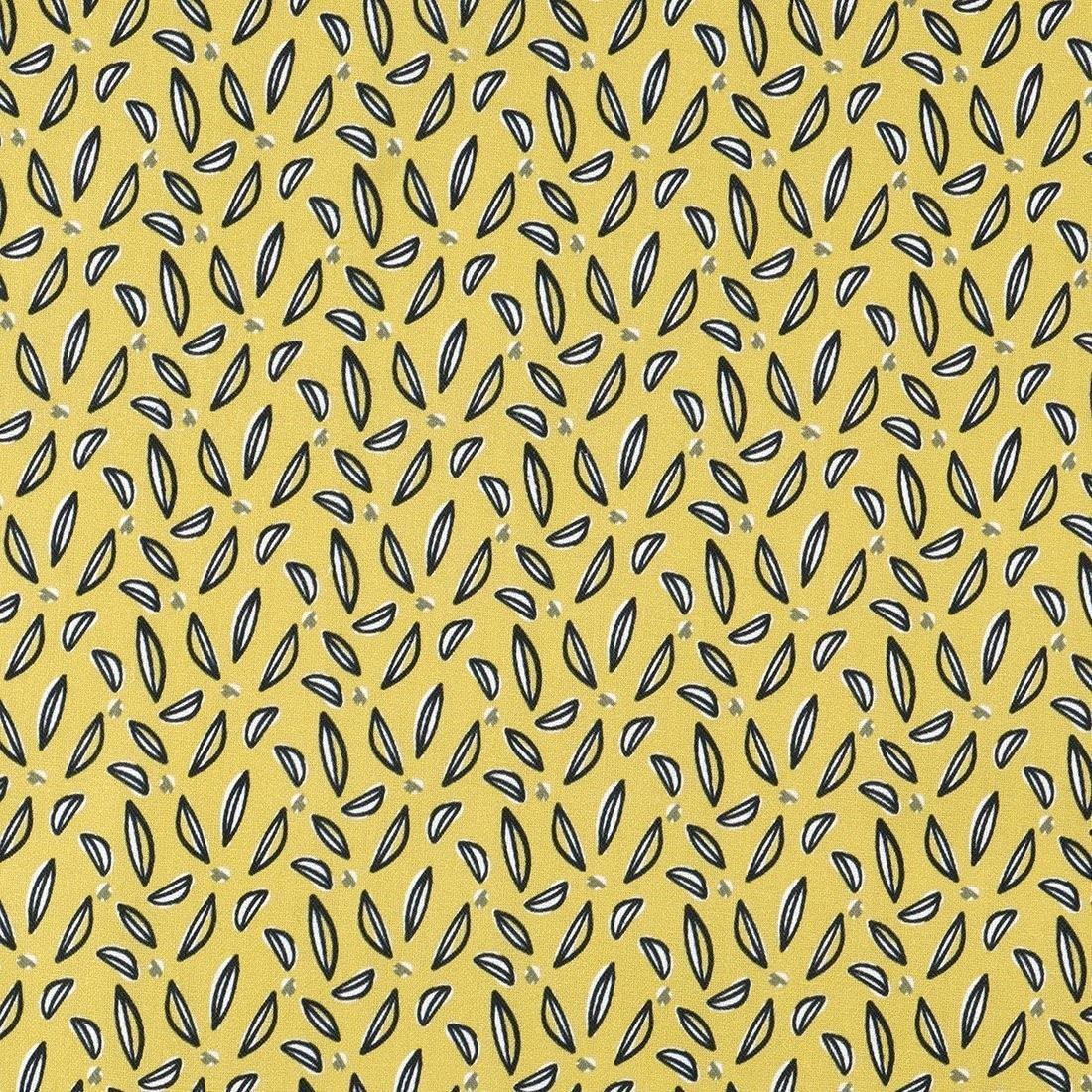 Coton jaune imprimé feuilles - Mondial Tissus