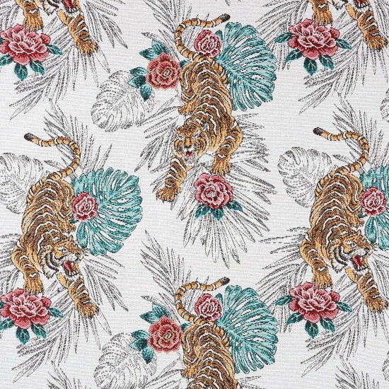 Tissu jacquard blanc motifs tigres
