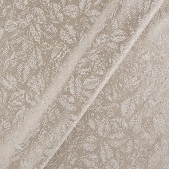 Tissu jacquard beige feuilles - Mondial Tissus