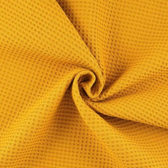 Tissu nid d'abeille jaune moutarde - Mondial Tissus