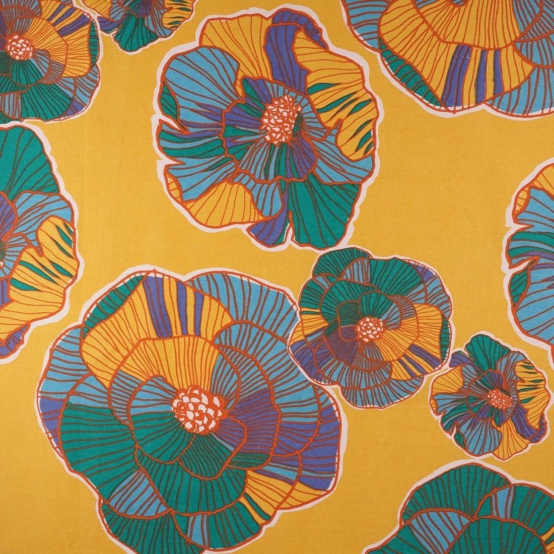 Sergé de coton jaune à fleurs - Mondial Tissus