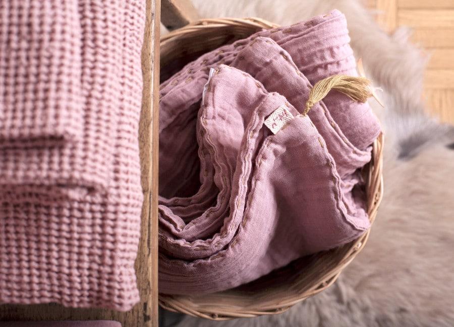 Linge en double-gaze de coton biologique teinture naturelle - Numéro 74