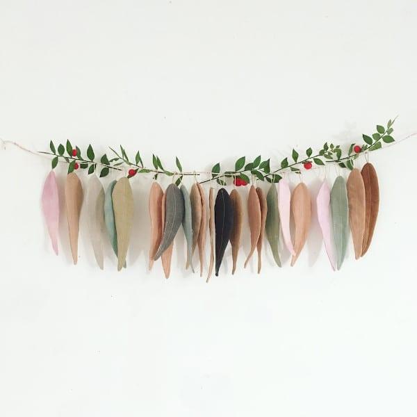 Guirlande de feuilles en lin - Collab WHOLE (teinture) x Cocon