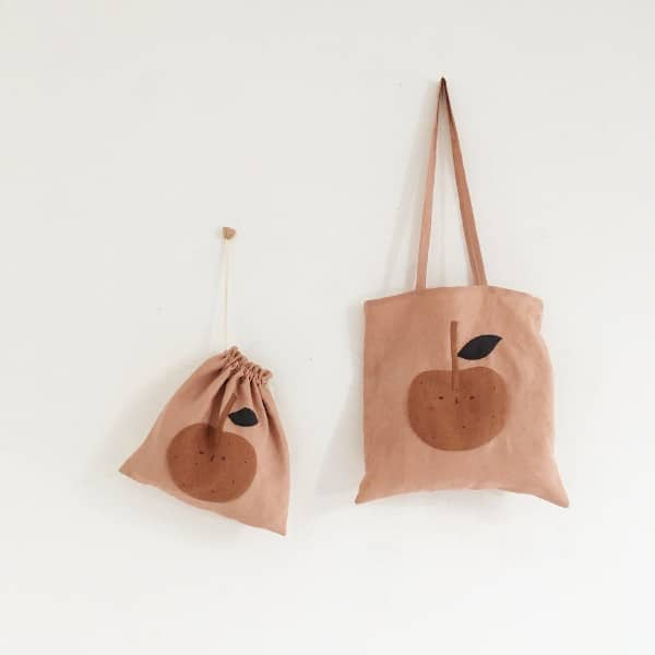 Tote bag en lin motif pomme - Collab WHOLE (teinture) x Cocon
