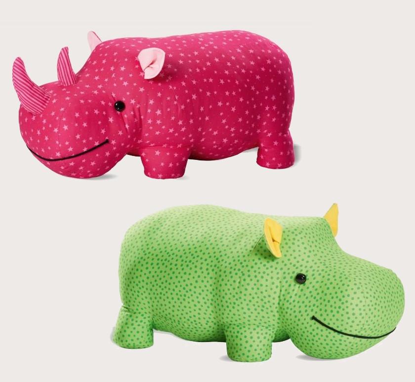 Patrons de doudous hippopotame et rhinocéros - Burda