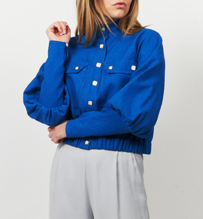 Veste façon bombers en lin bleu roi