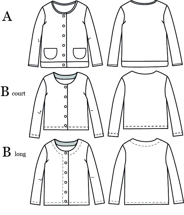Dessin technique du patron Vic - gilet pour enfant et femme - Ikatee