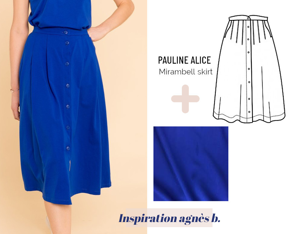 Inspiration couture jupe midi bleu roi