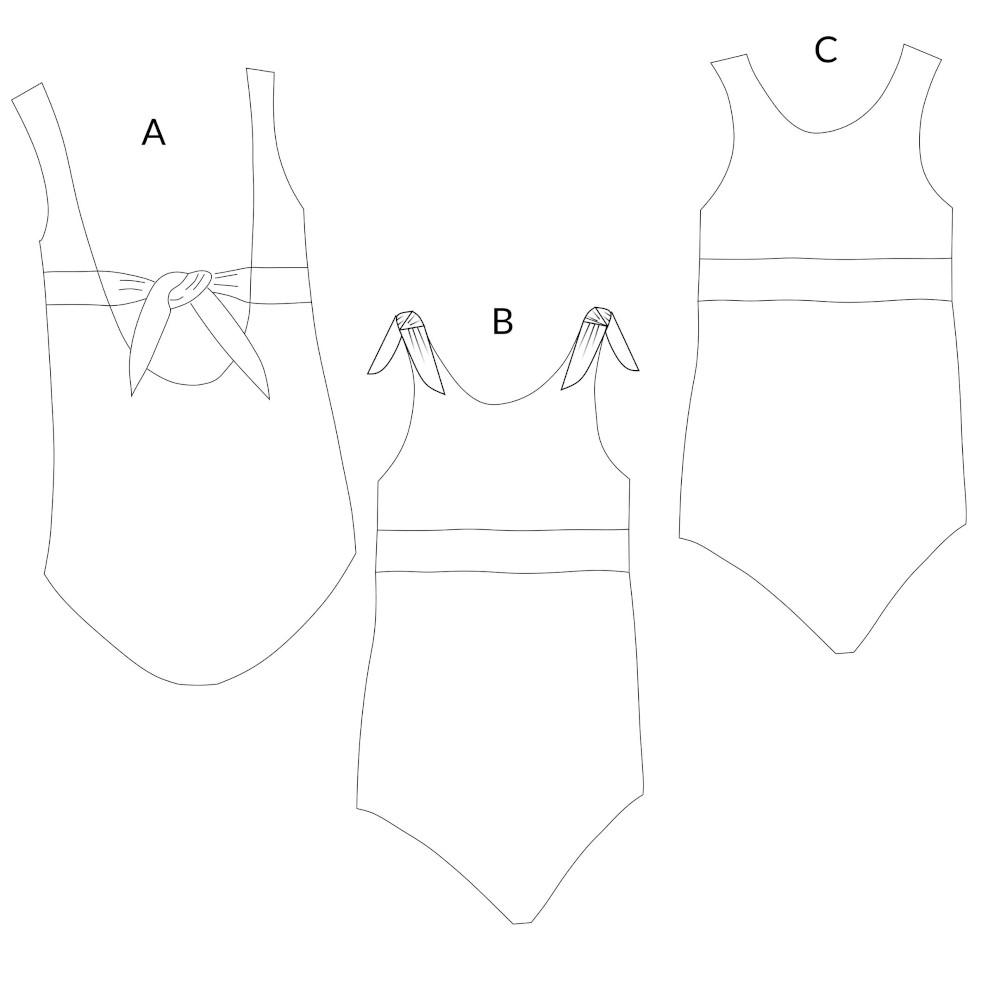 Dessin technique du maillot de bain Suroît - patron Rose des Vents