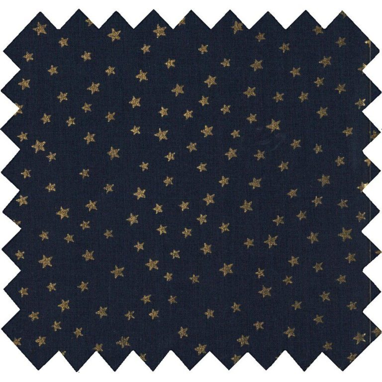 Coton enduit marine étoiles or